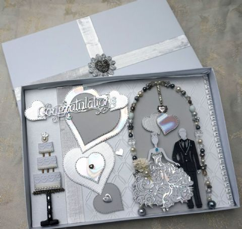 Wedding Day Card large A4 Hand Made Boxed Keepsake Card with Jewels & Beads